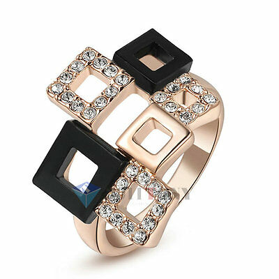 Fashion Rings 18K Rose Gold Plated Swarovski Crystal Multi Squares Jewelry