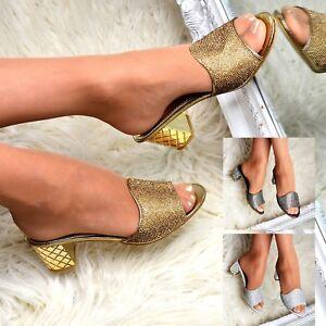 9e1c92a0b18 Womens Diamante Mules Block Mid Heel Slip on Shoes Open Toe ...