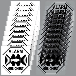 10-Window-Set-Sticker-Alarm-Protected-5cm-Black-inside-Glass-Disc
