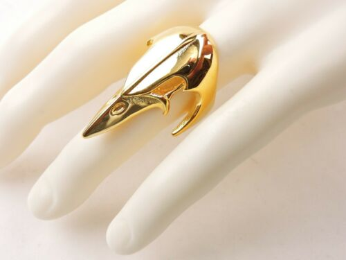 Free Gift Packaging Stainless Steel Gold Plated Raven Skull Ring