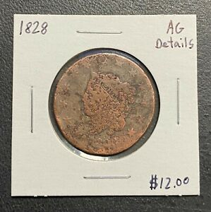 1828-U-S-CORONET-HEAD-LARGE-CENT-AG-DETAILS-2-95-MAX-SHIPPING-C3328
