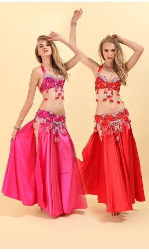 On Sale Professional Beading Belly Dancing Costumes Bra+Belt+Skirt S M L