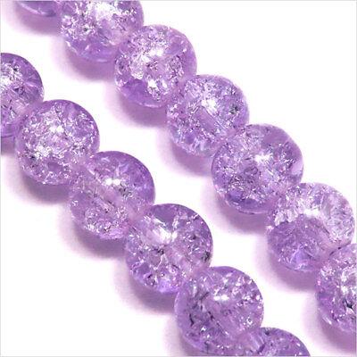 Lot de 30 perles Craquelées en Verre 8mm Lilas clair