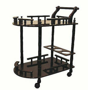 Cherry Color Kitchen Serving Cart With Wine Mini Bar