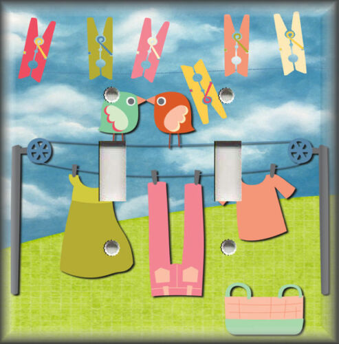 Metal Light Switch Plate Cover Laundry Day Birds Laundry Room Home Decor