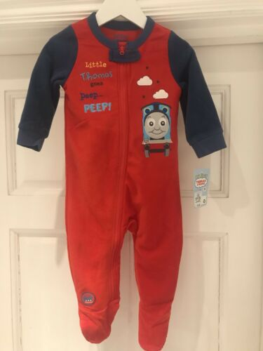 BNWT Official Licensed Thomas The Tank Engine Fleece All In One Sleepsuit 6-36