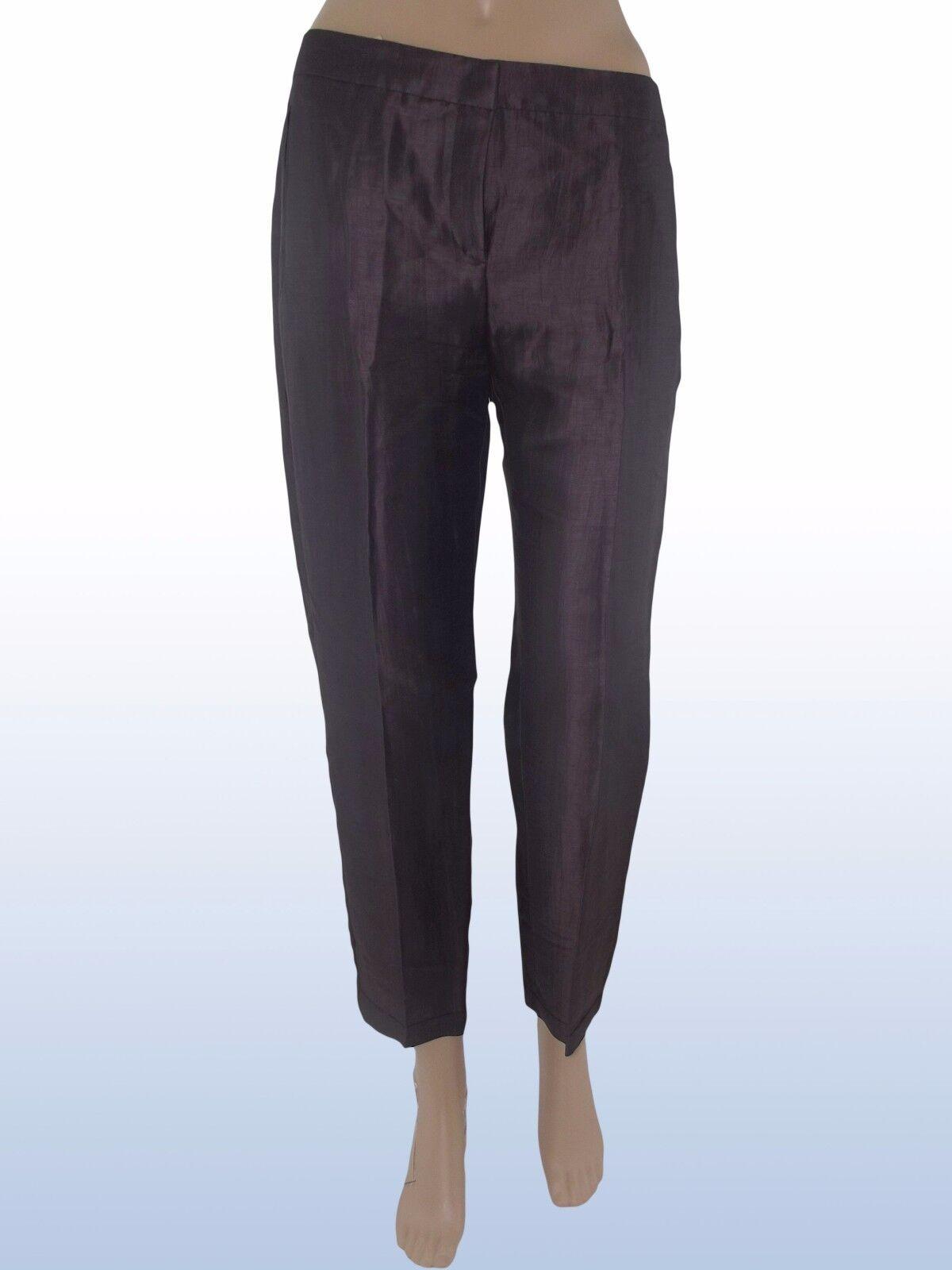 Pantalone donna grigio lino lino lino seta I bluS MAX MARA it 42 uk 10 de 36 w 28 072f27