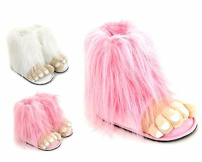 Ladies & Girls Bigfoot Novelty Slippers Size 3 to 10 UK PINK or WHITE- CHRISTMAS
