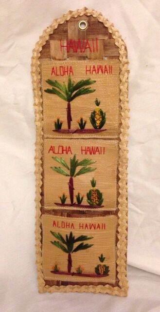 Aloha  Hawaii ~ Handcrafted burlap straw wicker old wall letter bill holder