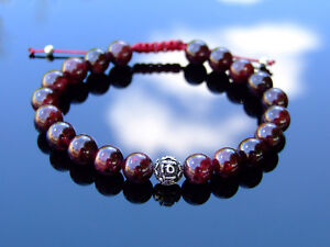 Garnet-Om-Sterling-Silver-Natural-Gemstone-Bracelet-6-9-039-039-Macrame-Healing-Stone