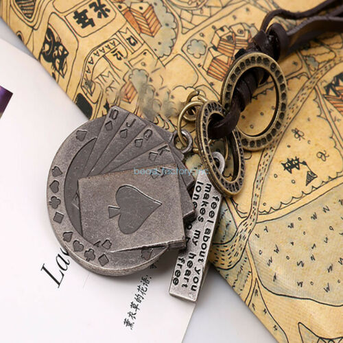 Unisexe Charm À faire soi-même Vache-cuir Poker en forme de réglable chaîne collier pendentif Cadeau