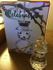 "Christmas Holiday Ornament 2 1/4"" Reflection Snowman Celebrations Glass"