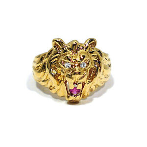 f63b2a15bb7e7 Details about SOLID 14K YELLOW GOLD LION HEAD WITH DIAMOND EYES RING ~ SIZE  7 1/2