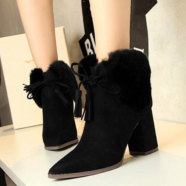 botas bajo talón 8.5 cabello negro fashion elegantes como piel 9475