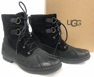 c5021f0e7e9 Details about UGG Australia AZARIA Black LEATHER SHEEPSKIN WATERPROOF DUCK  BOOTS 1017380