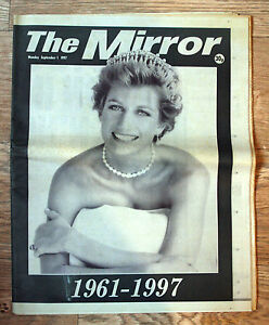 Old Newspaper  Princess Diana  The Mirror  1 September 1997 - <span itemprop=availableAtOrFrom>Diss, Norfolk, United Kingdom</span> - Old Newspaper  Princess Diana  The Mirror  1 September 1997 - Diss, Norfolk, United Kingdom