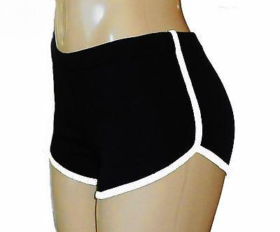 Black Retro Running Shorts with White Trim Small