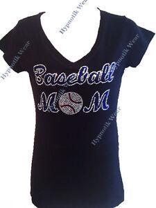 Rhinestone Baseball Mom Off the Shoulder Long Sleeve Sweatshirt Slashed or Solid Back S M L XL Plus Size 1x 2x 3x 4x 5x