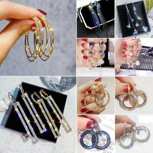 Gorgeous-Silver-Gold-Rose-Gold-Hoop-Earrings-Crystal-Women-Wedding-Jewellery