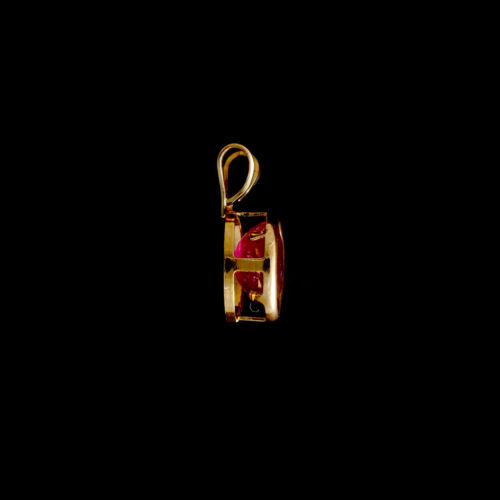 9ct Yellow Gold Oval Treated Ruby Pendant 7x5mm Optional Chain