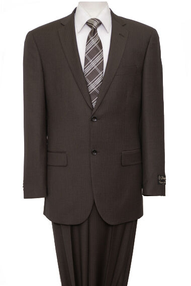 Men's 2 Button 100% Wool Pinstripe Suit Notch Lapel Wedding Flat Front Pants New