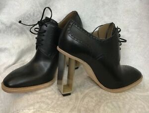 hermes bootie black lace up scalloped leather metal heel