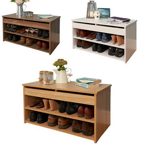 Details About Shoe Storage Cabinet Rack Wooden Hallway Storage Bench Lift Up Lid