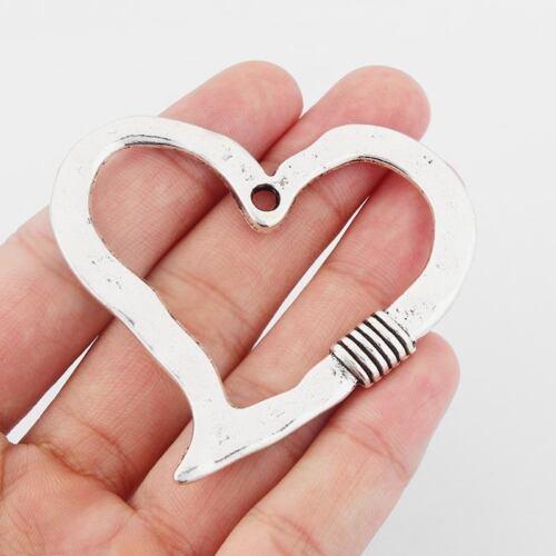 2 x Large Open Heart Tibetan Silver Charms Pendants Jewellery Findings 62x55mm
