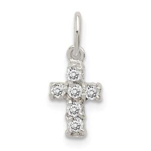 8e7be7557 Sterling Silver Children's CZ Mini Cross Polished Pendant Kids Charm ...