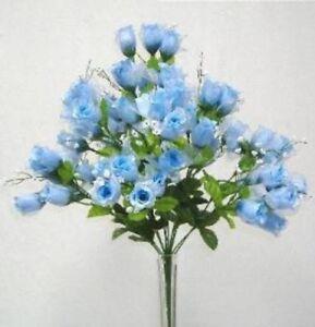 70 Mini Rose Buds Light Blue Silk Wedding Bridal Bouquet Craft