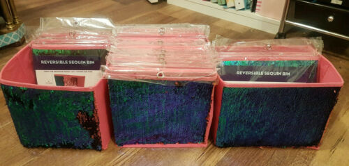 New in Package Mermaid Pink and Green Reversible Sequin Collapsible Bins