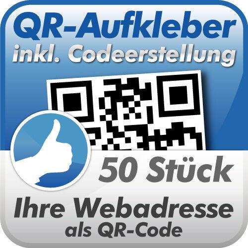 QR Code Aufkleber, Ihre Webadresse als QR-Code, 50 Stück, 10x10 cm, wetterfest