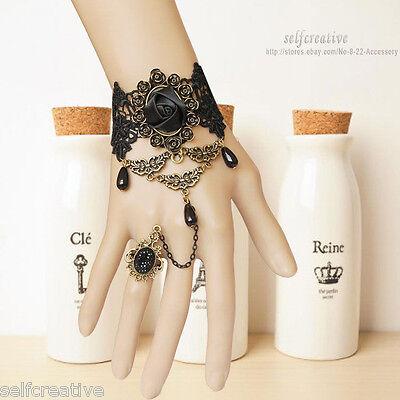 Flower Rose Stone Drop Lace Bronze Adjustable Ring Bracelet Lolita Goth Retro