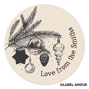 Personalised Tree Christmas Bags Present Sticker Labels Xmas Gift