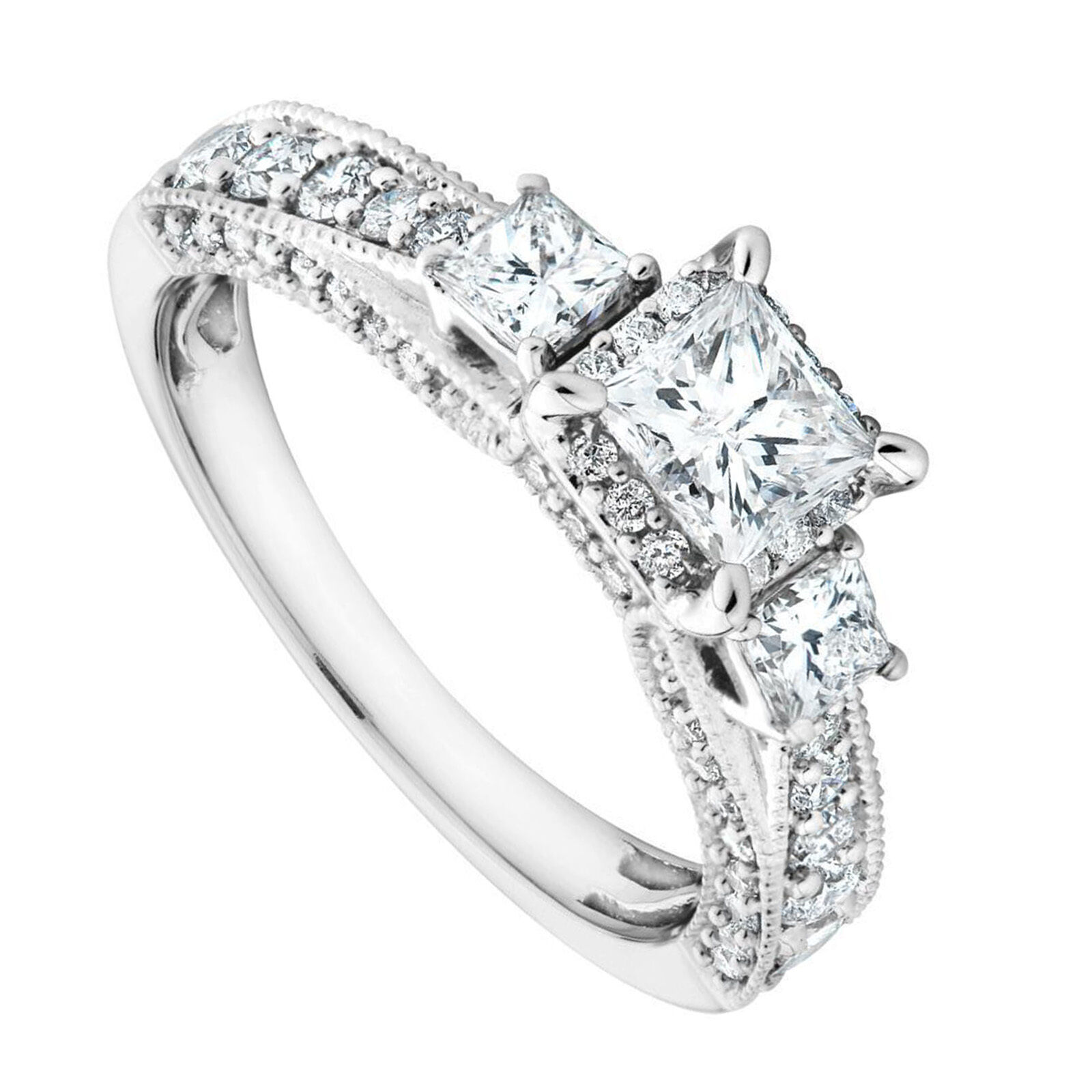 2.30 Ct Solitaire Princess Cut Diamond 14K White gold Proposal Ring Size 8