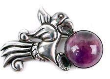 William Spratling 1939 Taxco 980 Sterling Silver Amethyst Bird Parrot Pin Brooch
