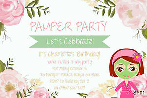 Details About Personalised PAMPER PARTY INVITATIONS Girls Slumber Spa Birthday Party Invites