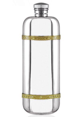 LADIES GOLDEN CELTIC BANDS FLASK British Made Memorable Spirits Gift ENGRAVED