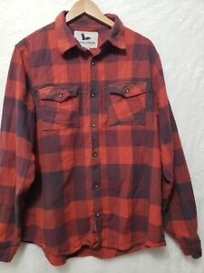 Field & Stream Mens Long Sleeve Red Plaid Flannel Button-Up Shirt  Size Large
