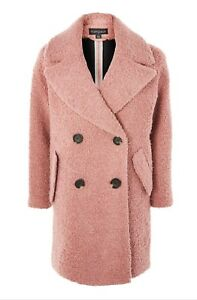 Wool Bear Fur Alicia Blend Boucle Coat Oversized Pink Donna Teddy Fleece qTXFfZfx