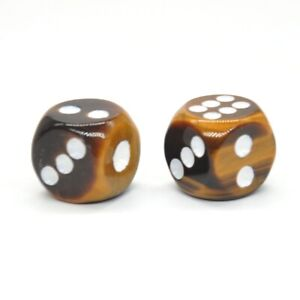 D6-Dice-Pair-Yellow-Tiger-Eye-Gemstone-Unique-6-sided-Hand-Carved-Stone-w-Pouch