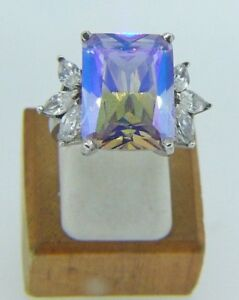 Sterling Silver Cubic Zirconia Micro Pave Set Mystic Topaz Ring Size P