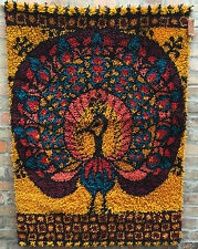 Wandteppich EGE RYA Peacock Pfau Panton Ära 70er Jahre vintage rug Hochflohr TOP