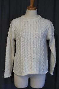 Image is loading Madewell-J-Crew-Cableknit-Pullover-Sweater-White-Size- 497516d1c