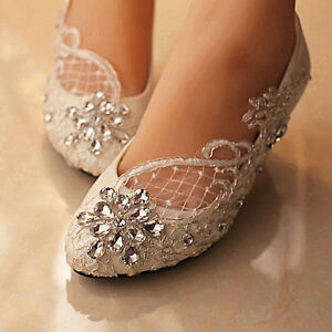 Image Is Loading Lace White Ivory Crystal Wedding Shoes Bridal Flats