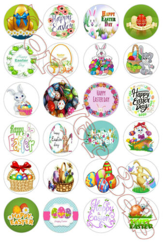 24 x 42mm Happy Easter day Cup Cake Decoration Toppers Edible Wafer Paper