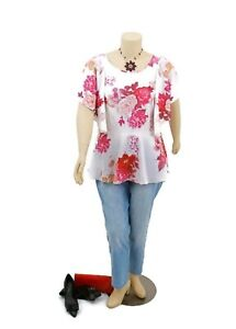CITY CHIC Floral Flowy Peplum Top Butterfly Sleeves Work/ Office | Plus Size: L