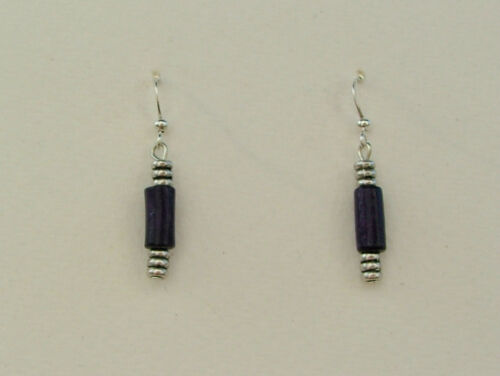 DW DECO STYLE PURPLE WOOD AND SILVER PLATED METAL EARRINGS