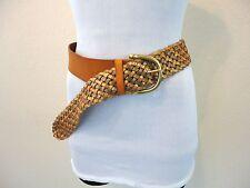 Linea Pelle BOHO Coachella Anthropologie BRAIDED Tan Leather Brass GYPSY Belt M