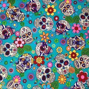 per-1-2-metre-fat-quarter-100-cotton-Turquoise-funky-skulls-fabric-goth